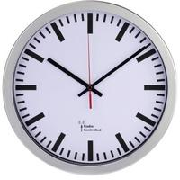 """Produktbild 00136244 DCF-Funkwanduhr """"Bahnhof"""" (Silber, Weiß)"""