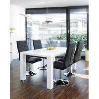 Produktbild SalesFever Essgruppe Tisch 140x90 cm weiß mit 4 Stühlen Lio aus Kunstleder Luke schwarz