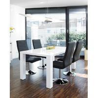 Produktbild SalesFever Essgruppe Tisch 180x90 cm weiß mit 6 Stühlen Lio aus Kunstleder Luke schwarz
