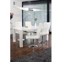 Produktbild SalesFever Essgruppe Tisch 140x90 cm weiß mit 4 Stühlen Lio aus Kunstleder Luke weiß