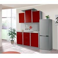 Produktbild Küche Sky 150cm Küchenzeile / Küchenblock variabel stellbar rot / silber