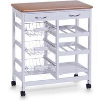 Produktbild Zeller Küchenrollwagen, weiß/Bamboo-Dekor, MDF 66x36x76