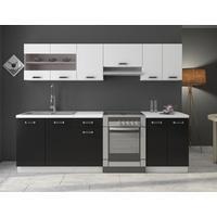 Produktbild Küche Omega 240 cm Küchenzeile / Küchenblock variabel stellbar in Schwarz Weiss
