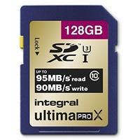 Produktbild Integral SDXC 128GB Class 10, 128 GB, SDXC, Klasse 10, UHS-I, 95 MB/s, Blau, Gold