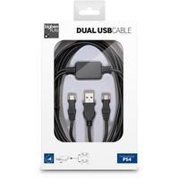 Produktbild DUAL USB CABLE, Y-Ladekabel 3m für PS4 (USB/Micro USB), schwarz