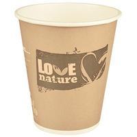 """Produktbild PAPSTAR 75 Trinkbecher, Pappe """"pure"""" 0,3 l Ø 9 cm · 10 cm farbig sortiert """"Love Nature"""" 86248"""