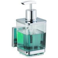 Produktbild WENKO Quadro Vaccum-Loc Seifenspender, 330 ml, Hochwertiger, nachfüllbarer Seifendosierer aus glänzendem rostfreiem Edelstahl, Glänzend/ Chrom/ Transparent
