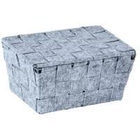 Produktbild WENKO Adria Feltro Mini Aufbewahrungskorb mit Deckel, rechteckig, Aufbewahrungsbox für das Bad und den gesamten Haushalt, Maße (B x H x T): 19 x 9,4 x 14 cm, grau