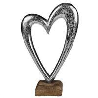 Produktbild Herz aus Metall auf Holz-Standfuss