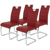Produktbild Freischwinger Flora - 4er Set - Kunstleder - 42 cm breit - Rot