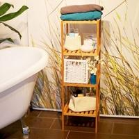 Produktbild Bambus Bad-Regal mit 4 Ablageflächen hellbraun