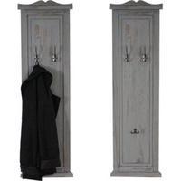 Produktbild 2x Wandgarderobe Garderobenpaneel Wandhaken Wandpaneel 109x28x4cm ~ grau shabby