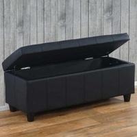 Produktbild Aufbewahrungs-Truhe Sitzbank Bank Kriens Kunstleder, 112x45x45cm ~ schwarz matt
