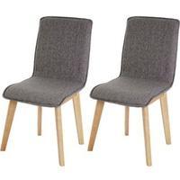 Produktbild 2x Esszimmerstuhl Kolding, Stuhl Küchenstuhl, Retro 50er Jahre Design, Stoff/Textil ~ grau mit Naht