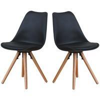 Produktbild 2x Esszimmerstuhl Nelle Küchenstuhl Esszimmer Küche Stuhl Stühle Eiche schwarz
