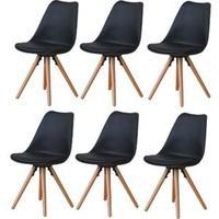 Produktbild 6x Esszimmerstuhl Nelle Küchenstuhl Esszimmer Küche Stuhl Stühle Eiche schwarz