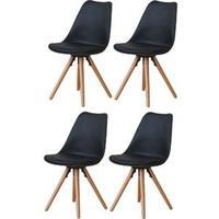 Produktbild 4x Esszimmerstuhl Nelle Küchenstuhl Esszimmer Küche Stuhl Stühle Eiche schwarz