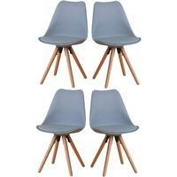 Produktbild 4er Set Esszimmerstuhl Nelle Küchenstuhl Esszimmer Küche Stuhl Stühle Eiche grau
