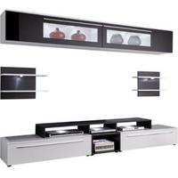 Produktbild Anbauwand Topas Wohnwand Wohnzimmer TV Schrank Fernsehschrank weiss schwarz