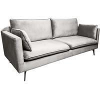 Produktbild Retro Design 3er Sofa Famous 210cm silbergrau Samt Couch mit Federkern Polstergarnitur inkl. Kissen