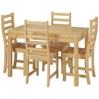 Produktbild Essgruppe für Vier mit Tisch und modernen Stühlen Kiefer Massivholz 90.70-51 C-Set 21