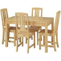 Produktbild Schöne Essgruppe mit Tisch und 4 Stühle Kiefer Massivholz natur 90.70-51 A-Set 22