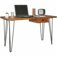 Produktbild Schreibtisch Bagli braun 130 x 60 x 76 cm Massiv Holz Laptoptisch Sheesham Natur | Landhaus-Stil Arb