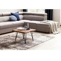 Produktbild Wohnling Design Couchtisch MAHILO Massivholz Tisch Baumkante 56 x 38 x 51 cm   Sheesham Holztisch mit Metallbeinen   Wohnzimmertisch im rustikalen Landhausstil