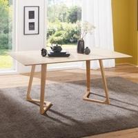 Produktbild Wohnling Esszimmertisch SKANDI 160 x 74 x 90 cm MDF Holz   Skandinavischer Esstisch mit rechteckiger Tischplatte   Robuster Küchen-Tisch im Retro Stil   Holz-Tisch in Eiche-Furnier