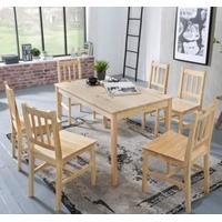 Produktbild 7-tlg. Essgruppe Kiefer Massivholz, 1 Esstisch + 6 Stühle braun