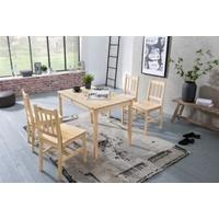 Produktbild 5-tlg. Essgruppe Kiefer Massivholz, 1 Esstisch + 4 Stühle braun