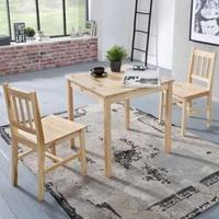 Produktbild Wohnling Esszimmer-Set EMIL 3 teilig Kiefer-Holz Landhaus-Stil 70 x 73 x 70 cm   Natur Essgruppe 1 Tisch 2 Stühle   Tischgruppe Esstischset 2 Personen   Esszimmergarnitur massiv