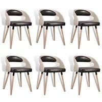 Produktbild Esszimmerstuhl Stuhl Küchenstuhl 6er Set Retro Rattanstuhl Kunstleder hellbraun