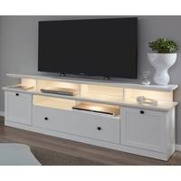 Produktbild TV-Lowboard Baxter 2-teilig in weiß Landhaus Fernsehtisch inklusive TV-Podest 177 x 65 cm