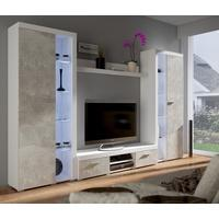 Produktbild TOP Wohnwand Rumba XL Anbauwand Wohnkombi Wohnzimmer Beton Optik + Weiss matt