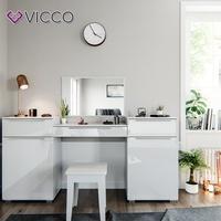 Produktbild Vicco Design Frisiertisch Lilli Schminktisch Kosmetik Set Kommode mit Spiegel Hochglanz weiß