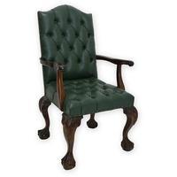 Produktbild Stuhl Armlehnstuhl Sessel Antiker Stil Massivholz mit grünem Leder (3287)