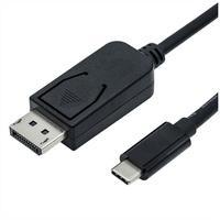Produktbild ROLINE USB Typ C - DisplayPort Adapterkabel, v1.2, ST/ST Audio- & Video-Adapter, 100.0 cm schwarz