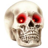 Produktbild Totenkopf mit Leuchtaugen Halloween-Deko weiss-grau 22 cm Einheitsgröße