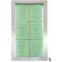 Produktbild Securit LED-Schaukasten Stainless Steel, 6 DIN A4 Seiten Edelstahl, witterun beständig, Abdeckung au