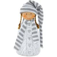 Produktbild Deko Figur Mädchen Kind Zöpfe Winter Schal Mütze Weihnachten Herzen Eglo 41243