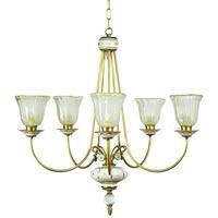 Produktbild Murano Glas Porzellan Kronleuchter weiß FasciaOro Luster Lüster Lampe Leuchte H63cm B65cm